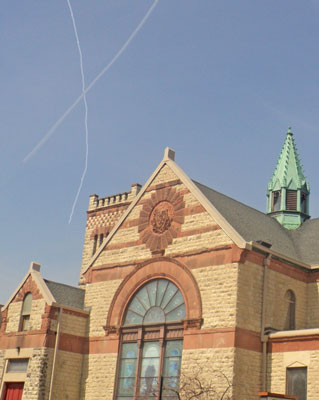 Easter Cross in the Sky over Christ Episcopal Church in La Crosse, WI